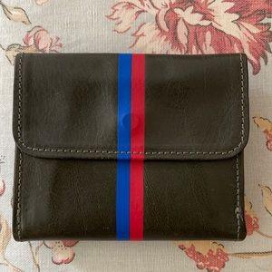 Clare V. Vivier leather bi-fold stripe snap wallet